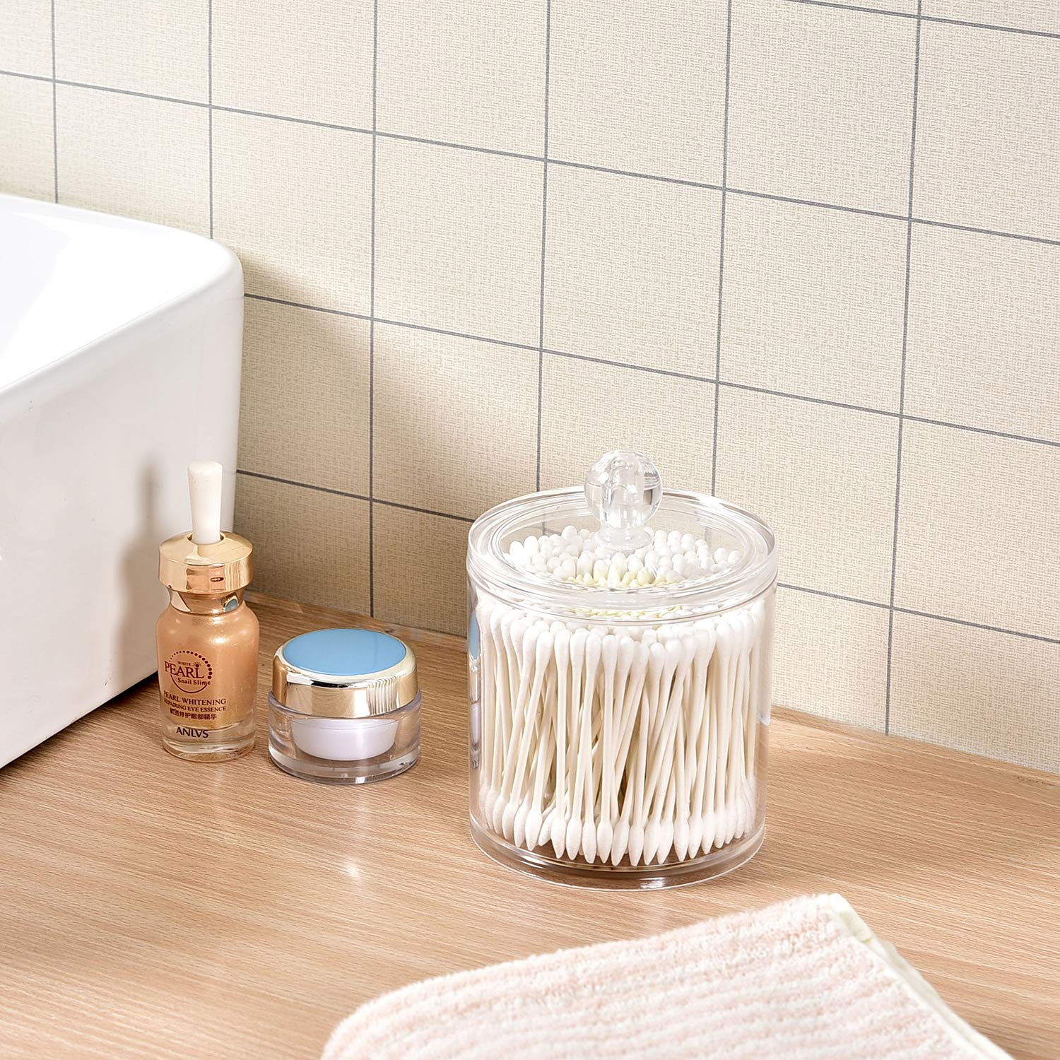 Bathroom Cotton Swab Organizer Yoelrsa Acrylic Cotton Ball and Q-Tips Holder,Round Cotton Swabs Makeup Storage Box with Lid Apothecary Canister Jar 6008