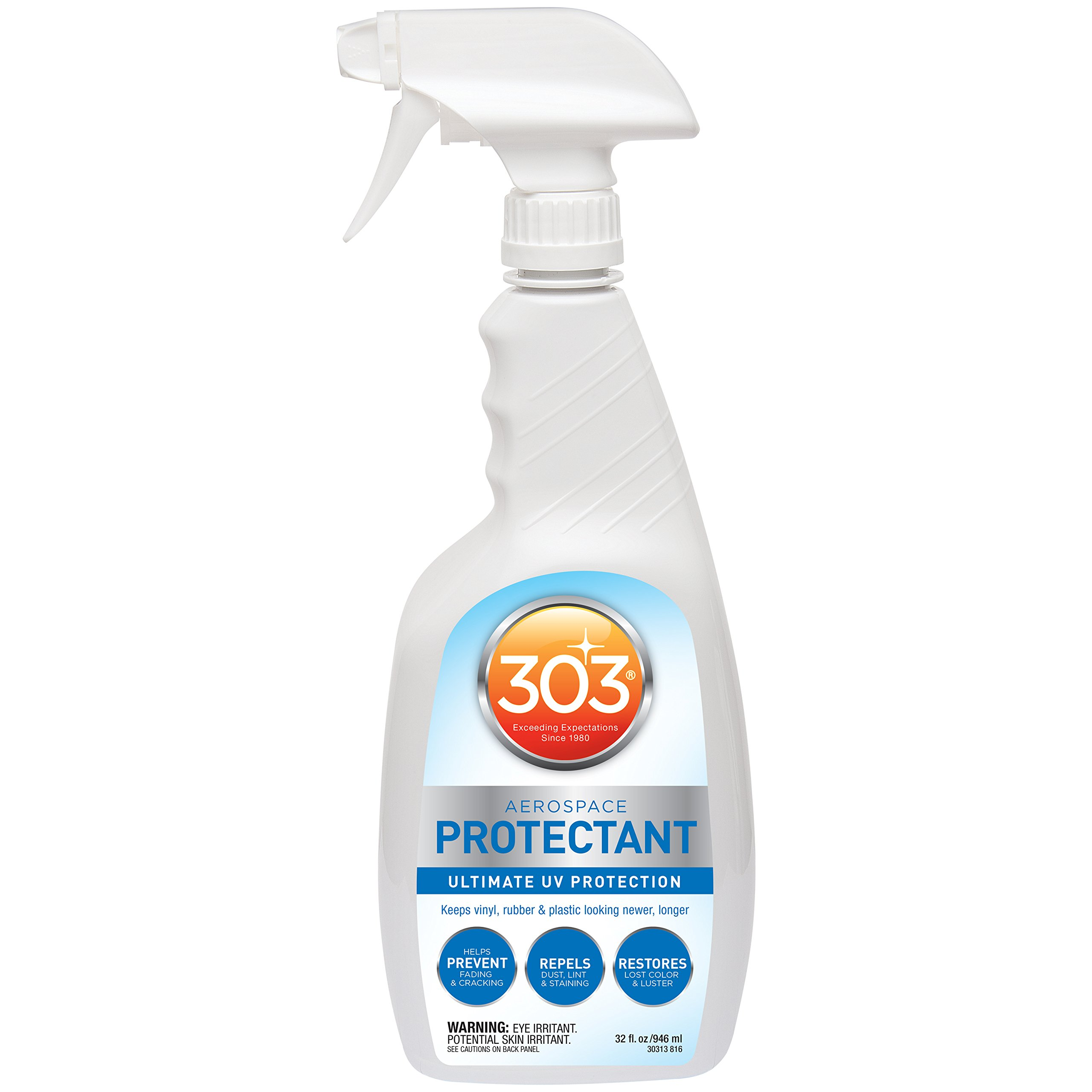 303 (30313-CSR) UV Protectant Spray for Vinyl, Plastic, Rubber, Fiberglass, Leather & More - Dust and Dirt Repellant - Non-Toxic, Matte Finish, 32 Fl. oz. by 303 Products
