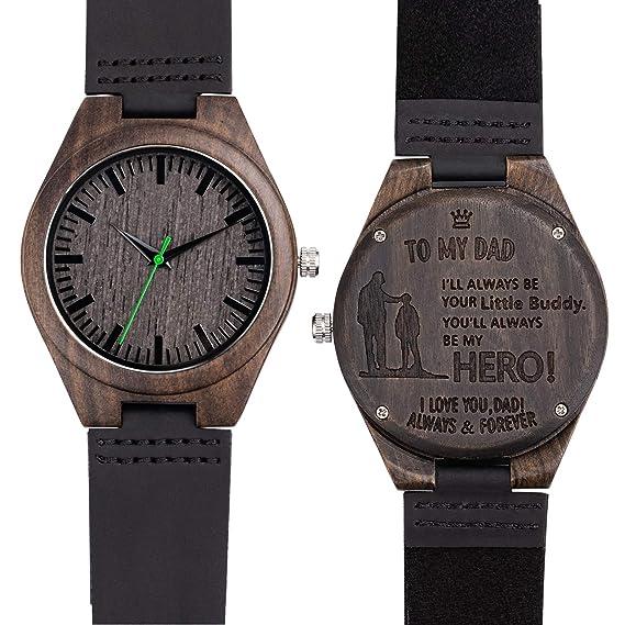Grabado Reloj de Pulsera Sándalo Negro Relojes Madera Analógico de Cuarzo para Hombre Correa de Cuero