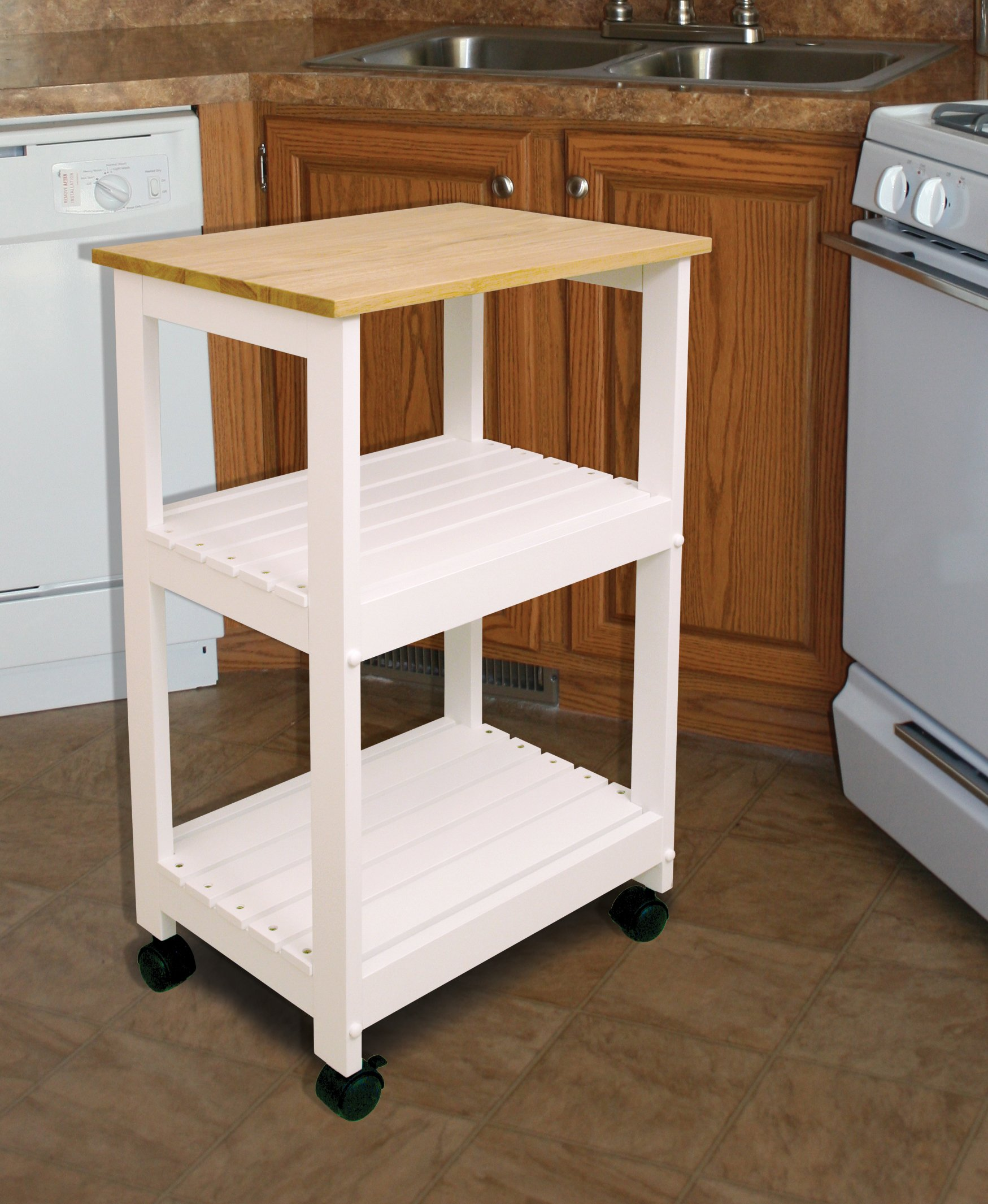 Catskill Craftsmen Utility Kitchen Cart/Microwave Stand, White Base with Natural Top by Catskill Craftsmen (Image #4)