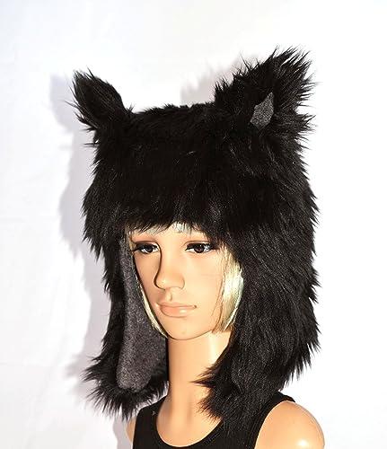 Amazon.com  Black Wolf Faux Fur Animal Hat  Handmade 06850543329