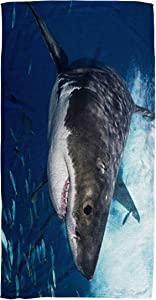 Bisead 30×60 Inch Beach Towel,Great White Shark,Beach Pool Travel,Large Absorbent Quick Dry,Brown Pink