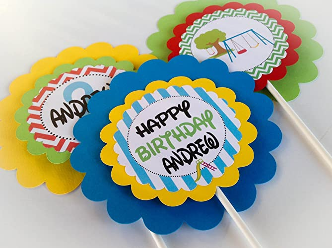 Amazon 3 Centerpieces Or Cake Toppers Playground Happy