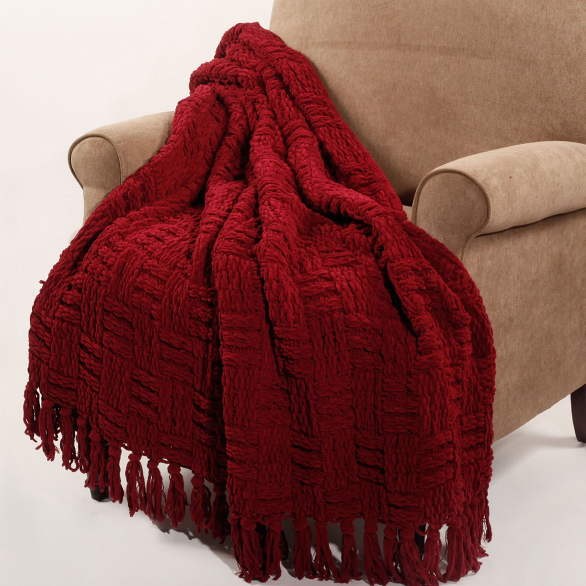 Home Soft Things BOON Cable Knitted Throw Couch Cover Blanket, 50'' x 60'', Burgundy