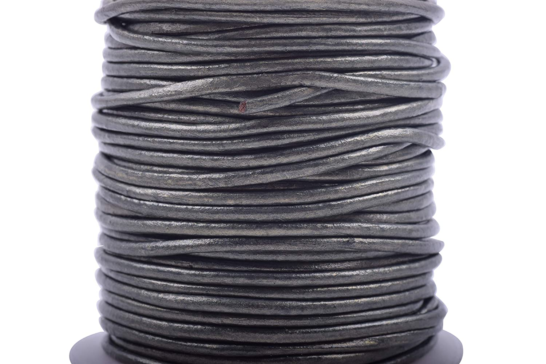 KONMAY 25 Yards 2.0mm Aqua Solid Round Genuine//Real Leather Cord Braiding String 2.0MM, Aqua