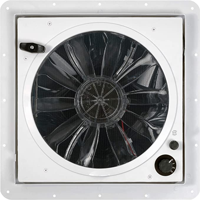 Fan-Tastic Vent RV Roof Vent, 3-Speed Manual Crank RV Vent Fan, Smoke Dome RV Vent Cover - 1200 Series - White