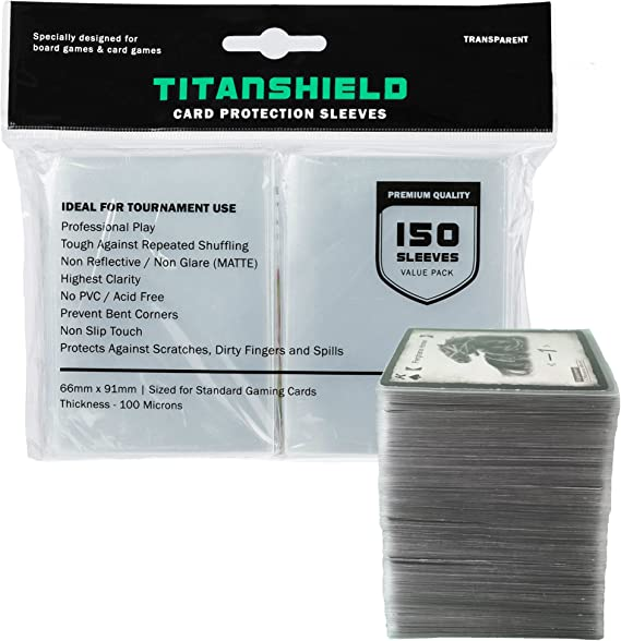TitanShield (150 Sleeves / Clear) Standard Size Board Game and Matte Trading Card Sleeves Deck Protector for Magic The Gathering MTG