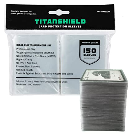 c439bfdc410 TitanShield (150 Sleeves) Standard Size Board Game and Matte Trading Card  Sleeves Deck Protector