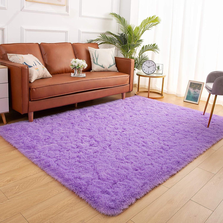 YJ.GWL Soft Shaggy Area Rugs for Bedroom Fluffy Living Room Rugs Nursery Girls Carpets Kids Home Decor Rugs 3 x 5 Feet Purple