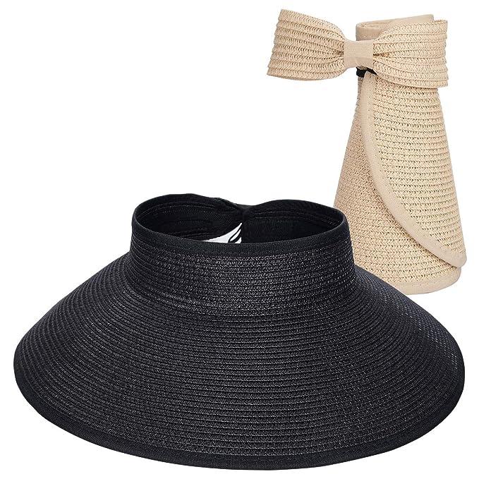 a460de2b1 Maylisacc Ladies Wide Brim Straw Sun Visor Hat Foldable Summer Topless  Sunhats Womens