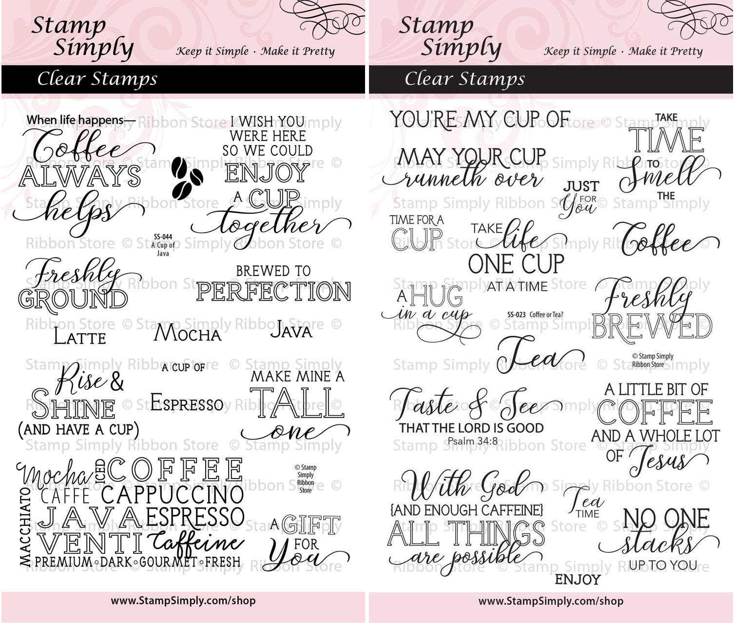 Stamp Simply Clear Stamps A Cup of Java and Coffee or Tea Christian Religious (2-Pack) 4x6 Inch Sheets - 30 Pieces