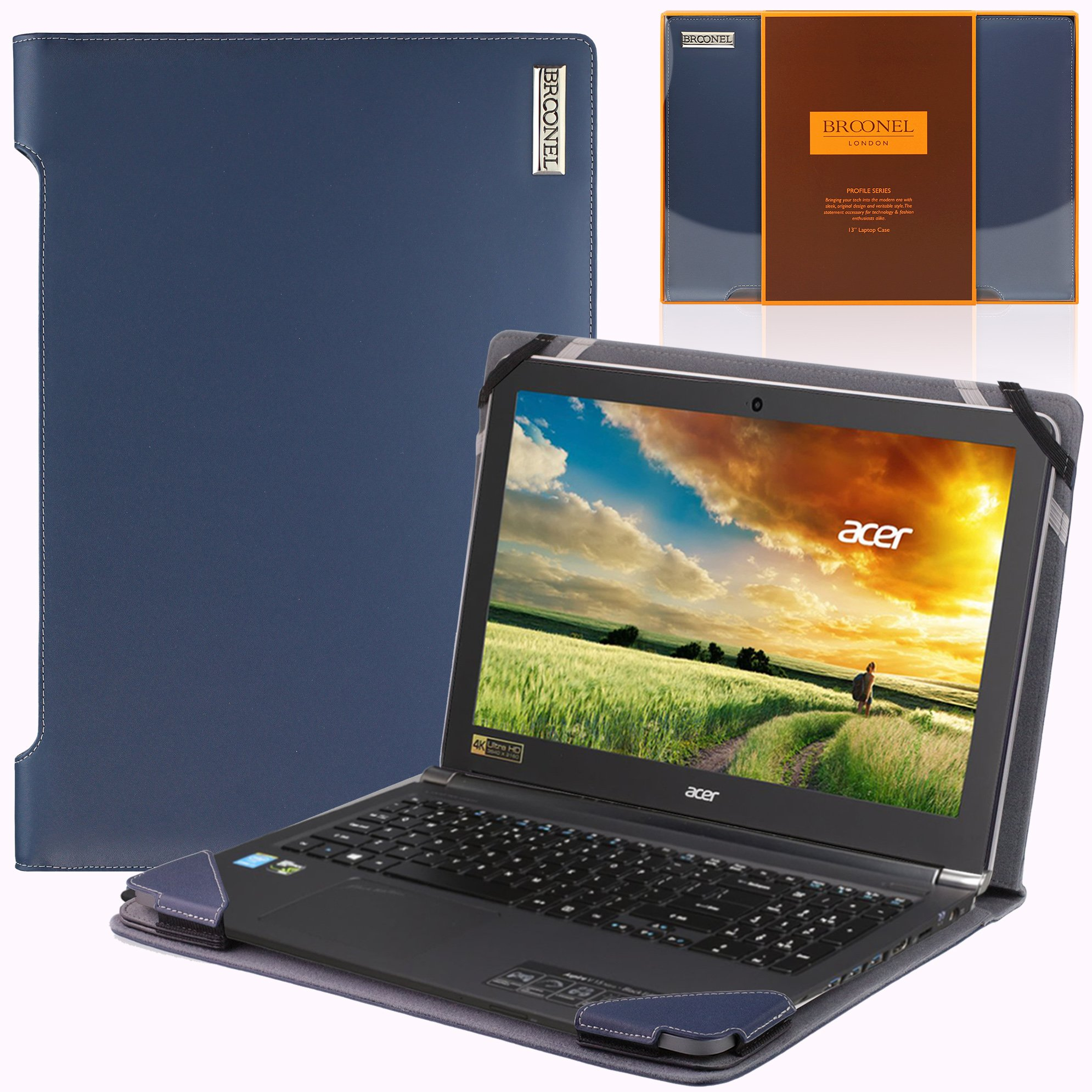 Blue Heavy Duty Leather Protective Case Broonel Compatible with The Acer Aspire 3 15.6 Laptop Contour Series