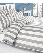 Parure de lit de couleur blanc-gris blanc - 100 % coton housse de couette et taies d'oreiller 200 x 200 cm