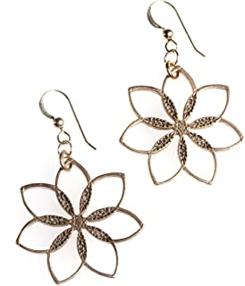 product image for Flower Power! Peace Bronze Earrings on French Hooks