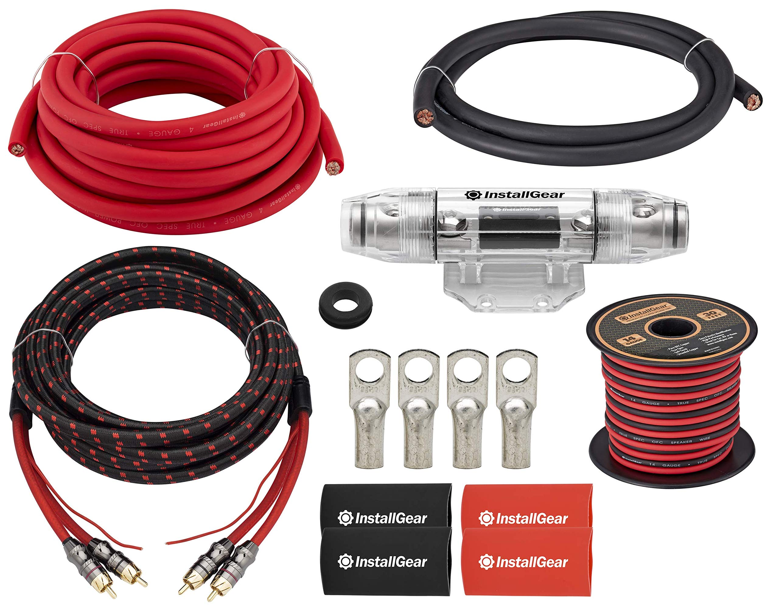 InstallGear 4 Gauge OFC Amp Kit with 20ft Power Wire (99.9% Oxygen-Free Copper)