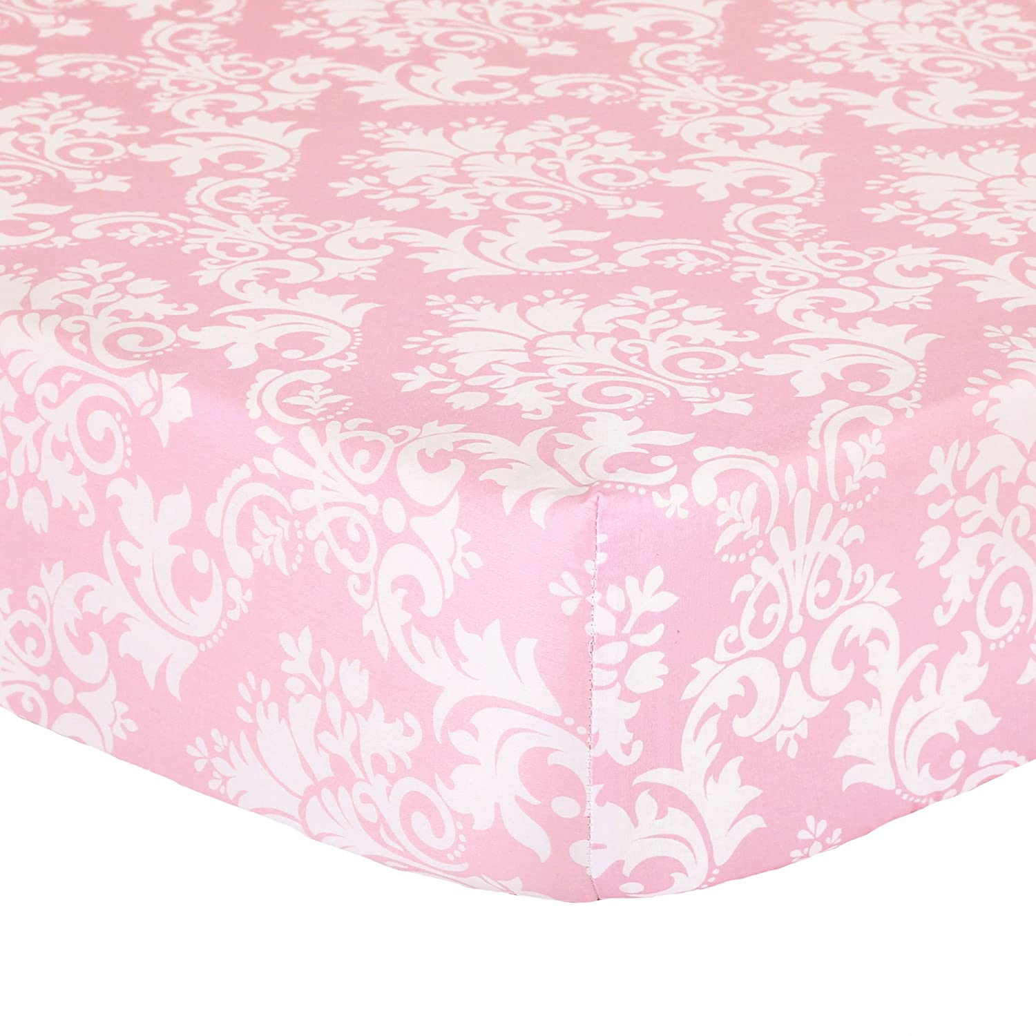 Pink Damask Fitted Crib Sheet - 100% Cotton Sateen Floral Design by The Peanut Shell   B01HNAEH4O