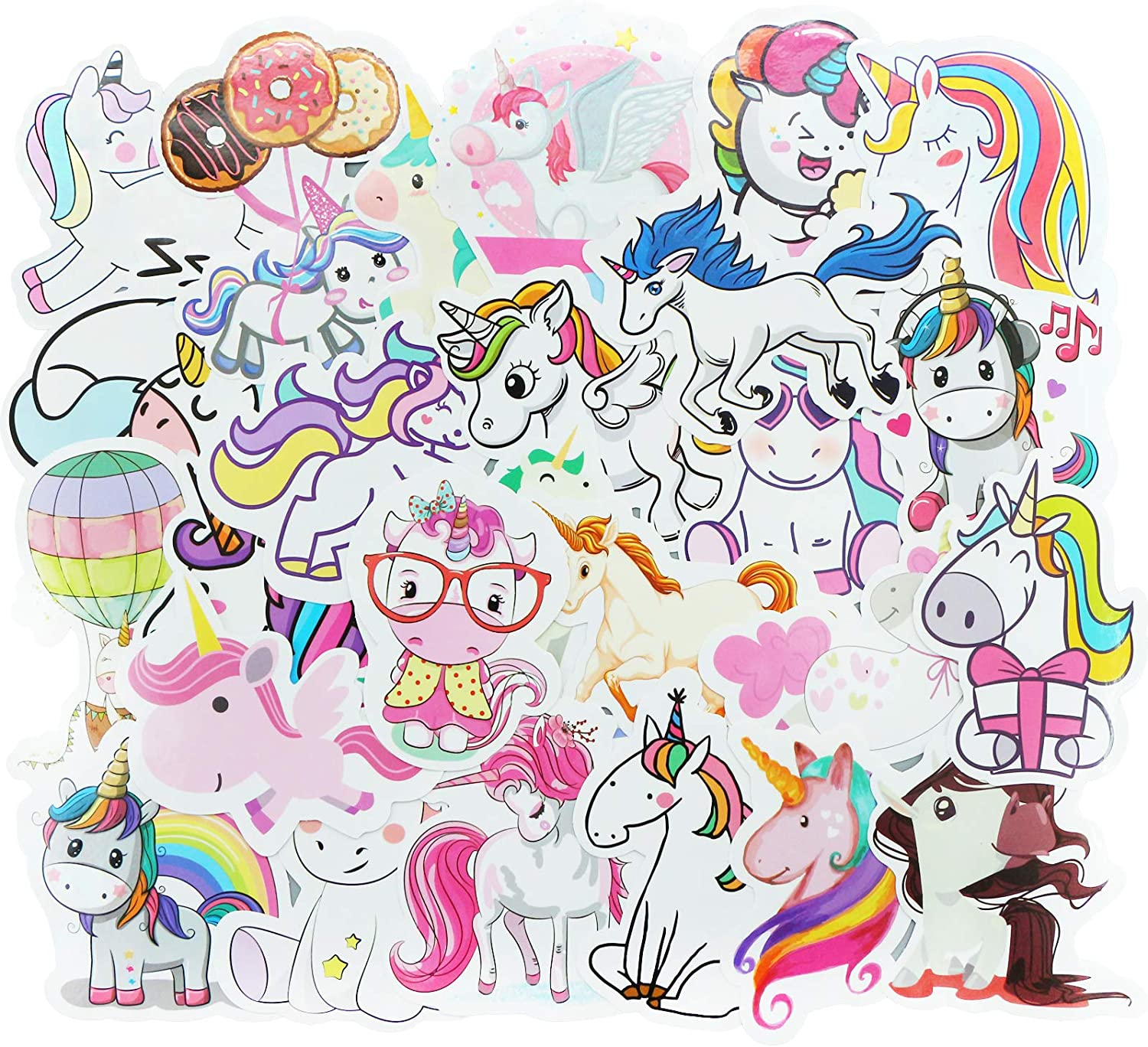 YAMIOW Laptop Stickers, Waterproof Sticker Packs for Water Bottle, Skateboard, Luggage, Cute Vinyl Graffiti Decal for Adult, Teens (50 pcs for Unicorn Style)