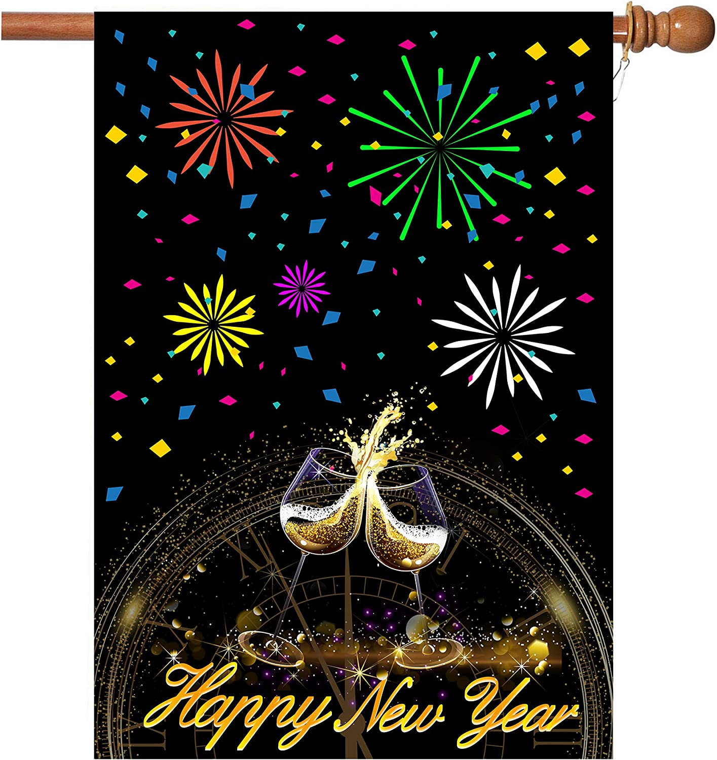 New Years Flag,Happy New Year Garden Flag 28 x 40 Inch Double Sided Fireworks Wine Glass Clock Happy New Year House Flag for New Year Greettings or Decoration with 2 Grommets