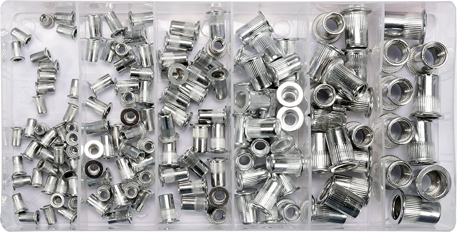 YATO professional threaded rivet nuts mix sizes 150 Pcs, M3-M10