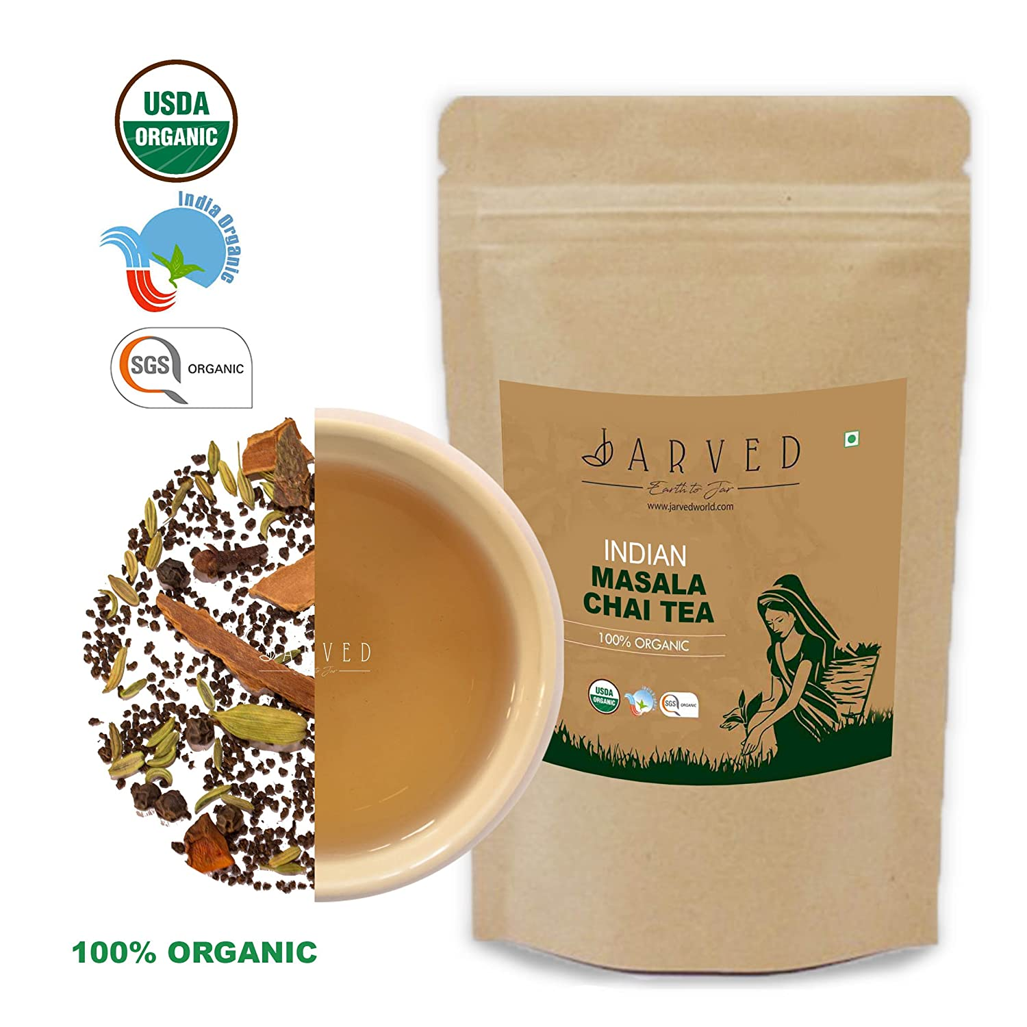 Jarved Indian Masala Chai Tea: 100% natural Blended With exotic spices like Cinnamon, Fennel, Star Anise, Ginger, Clove and Black Pepper(200gm 90 Cups): ...