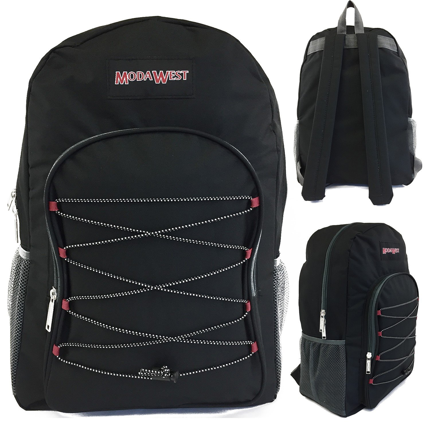 Wholesale 19'' Bungee Design Backpack Asst Colors - Case of 24 by Moda West