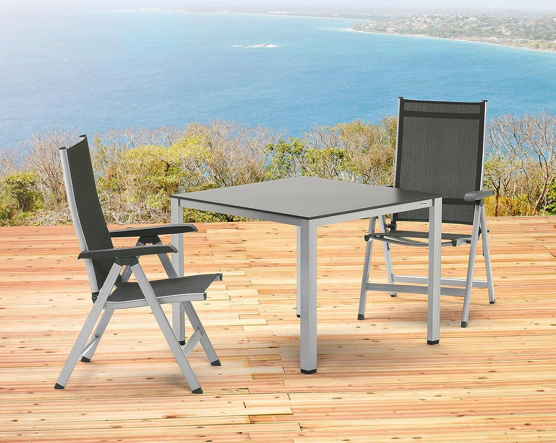 Kettler Basel Gartenmöbel 1 Tisch 95 Cm Und 2 Klappsessel In Silber