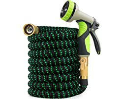 Zalotte Expandable Garden Hose with 9 Function Nozzle, Leakproof Lightweight Expanding Garden Water Hose with Solid Brass Fit