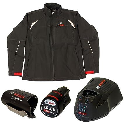 Bosch Professional HEAT+ - Chaqueta de trabajo térmica calefactable para hombre (almohadillas térmicas con batería de 12 V, adaptador de batería + 1 ...