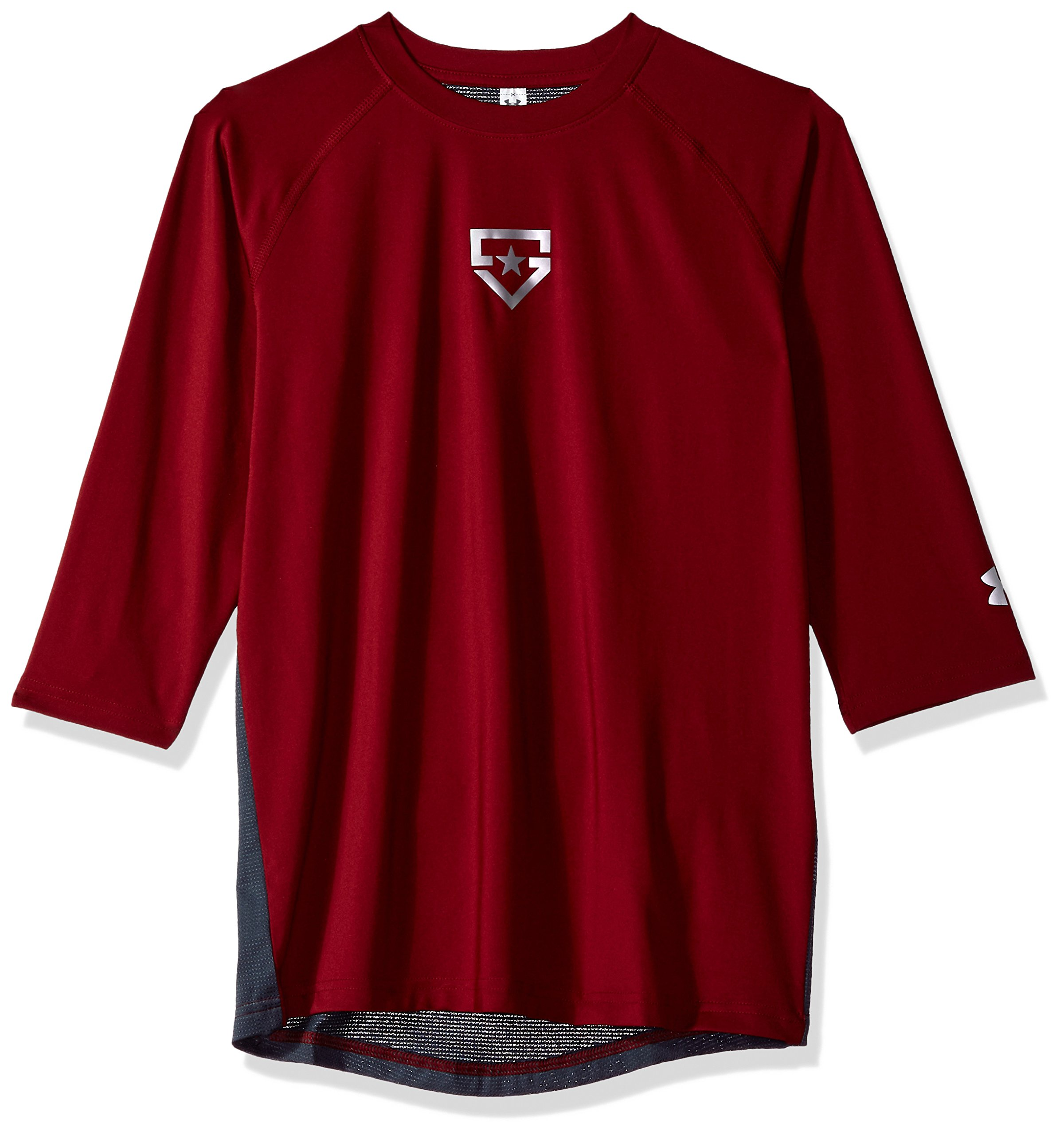 Boy's Under Armour Boys' Heater 3/4 sleeve T-Shirt, Cardinal (625)/Silver, Youth Large by Under Armour