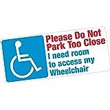 NE pas Park trop près de fauteuil roulant accès handicapés Blue Badge Vinyle autocollant de voiture