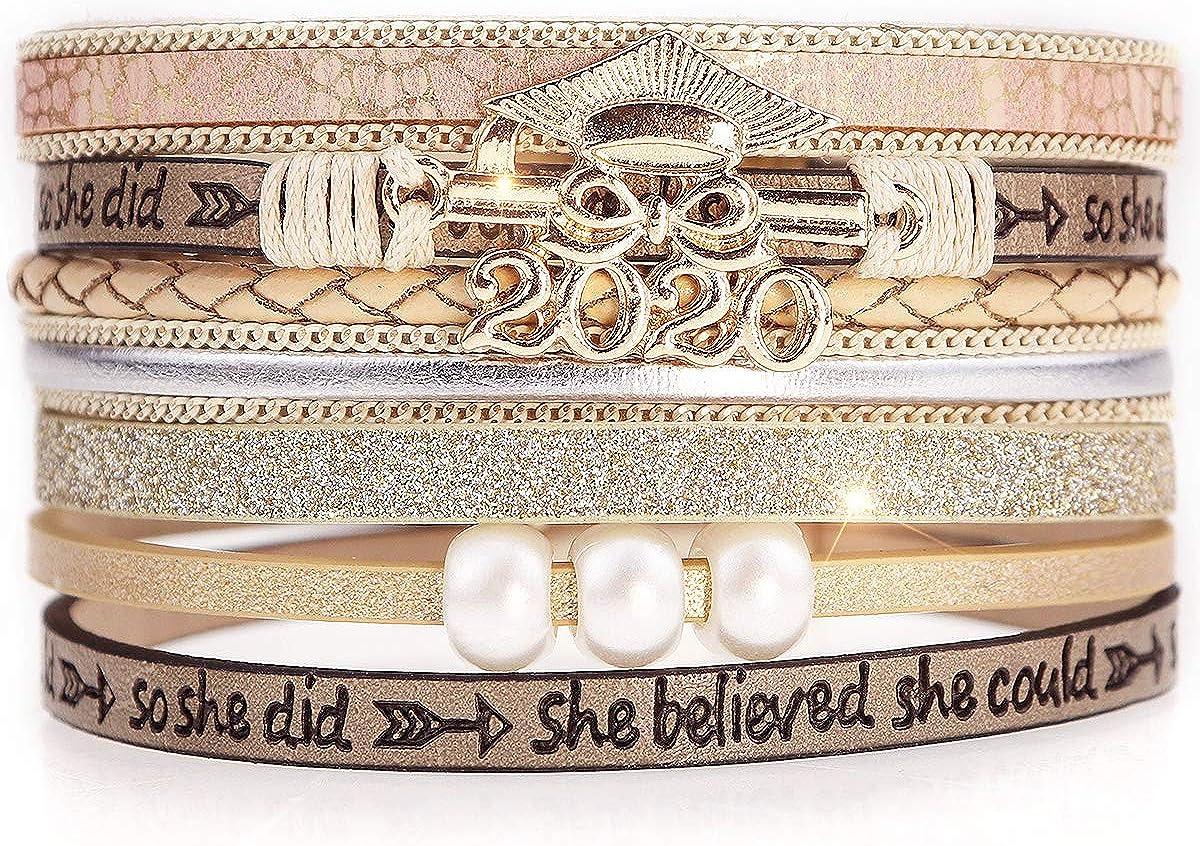 Suyi Leather Wrap Bracelet Regalos de graduación para Mujeres Niñas Multicapa 2020 Graduación Escolar Regalo de cumpleaños para Ella