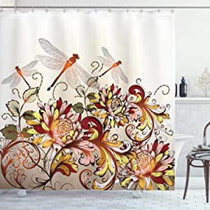 Ambesonne Spring Shower Curtain, Flower Field Foliage with Dragonflies Season Shabby Classic Leaves Pattern, Cloth Fabric Bathroom Decor Set with Hooks, 84