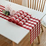 """DOLOPL Buffalo Check Table Runner Red and White Table Runners 12""""×108"""" PVC Easy to Clean Wipeable Washable Modern Farmhouse T"""