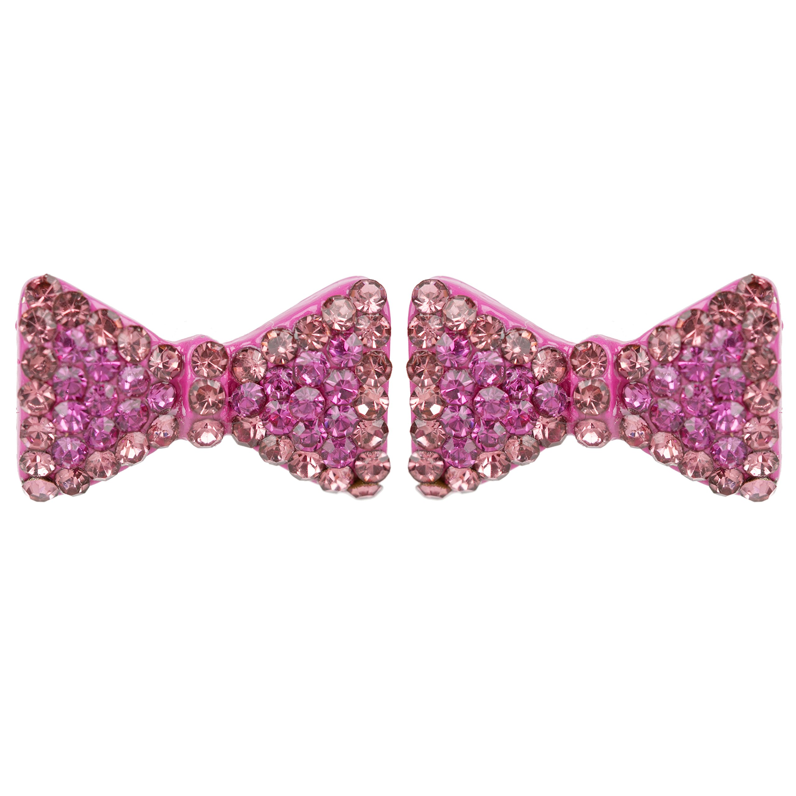 ACCESSORIESFOREVER Cute Crystal Rhinestone Bow Tie Design Charm Stud Post Earrings E1196 Pink