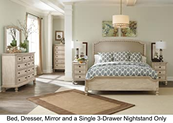 Demarlos Queen Bedroom Set with Upholstered Panel Bed Dresser Mirror and  3-Drawer Nightstand in Parchment White