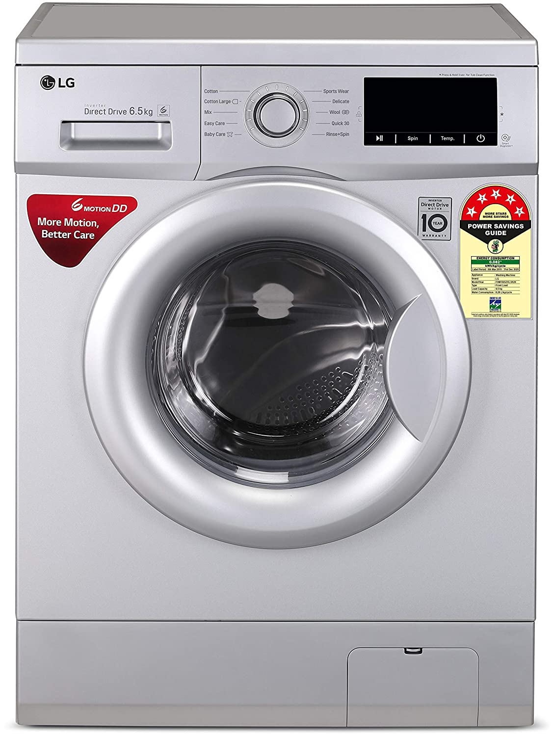 LG 6.5 Kg 5 Star Inverter Fully Automatic Front Loading Washing Machine  FHM1065ZDL, Luxury Silver, Direct Drive Technology  Washing Machines   Dryers