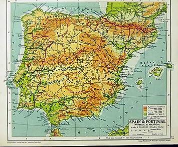 Carte Italie Et Sardaigne.1935 Carte Espagne Portugal Italie Corse Sardaigne Baleare Amazon