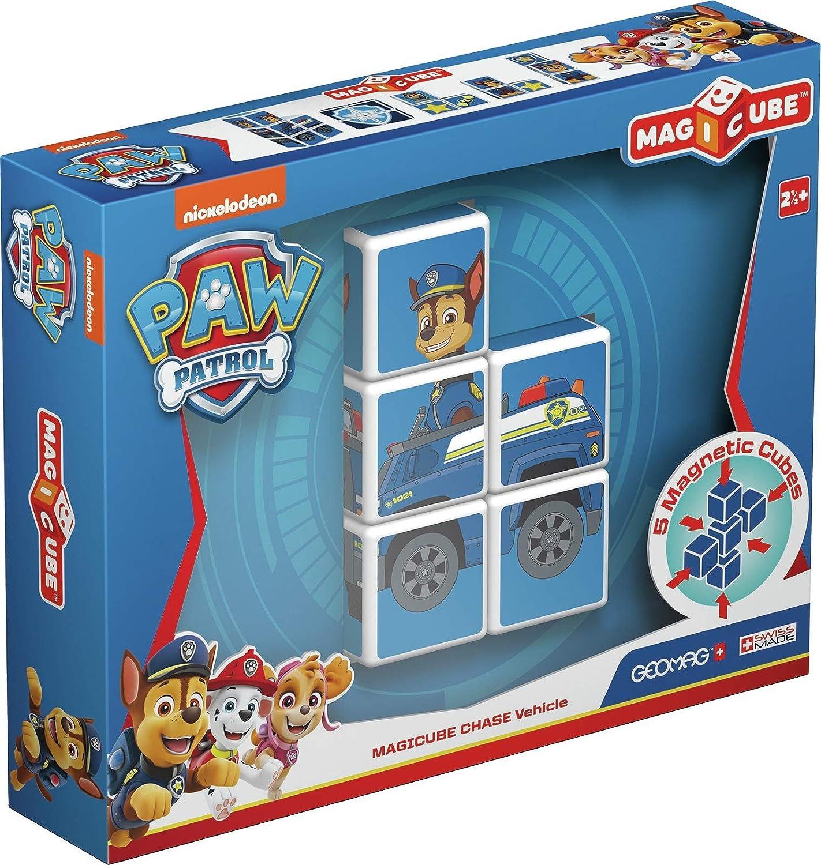 Geomag-GM079 Magicube Paw Patrol 079, Coche de policía de Chase, construcciones magnéticas, 5 Cubos (La Patrulla Canina) (GM079): Amazon.es: Juguetes y juegos