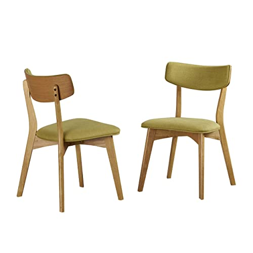 Christopher Knight Home Danae Mid Century Modern Green Tea Fabric Dining Chairs with Natural Oak Finished Rubberwood Frame Set of 2
