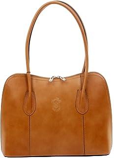 d97768d2e6 Primo Sacchi pelle liscia italiana a mano in stile classico manico lungo  borsetta Tote borsa Grab