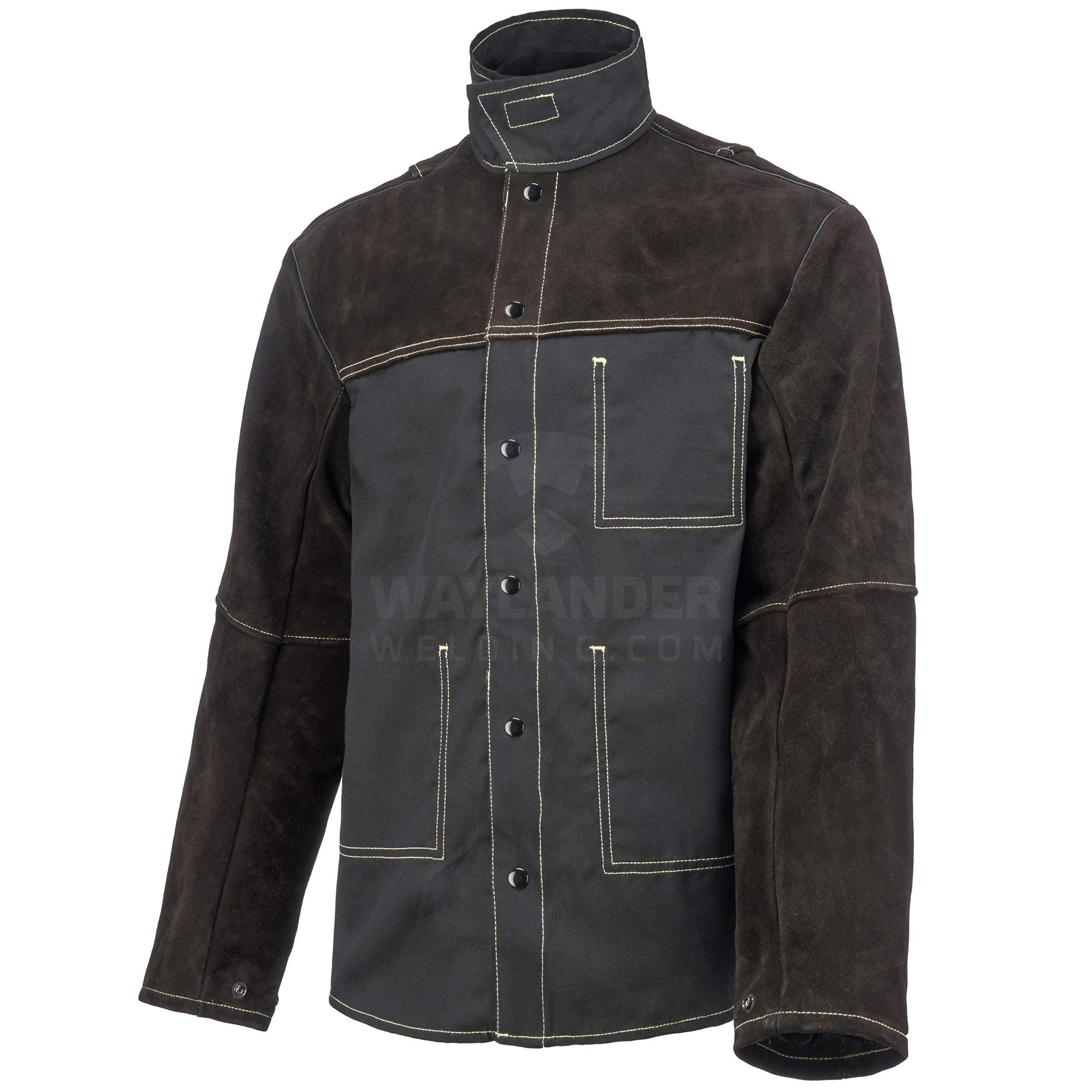 Waylander Welding Jacket Large Split Leather Heat Fire Resistant Cotton Kevlar Stitched Cowhide Dark Brown - L by Waylander