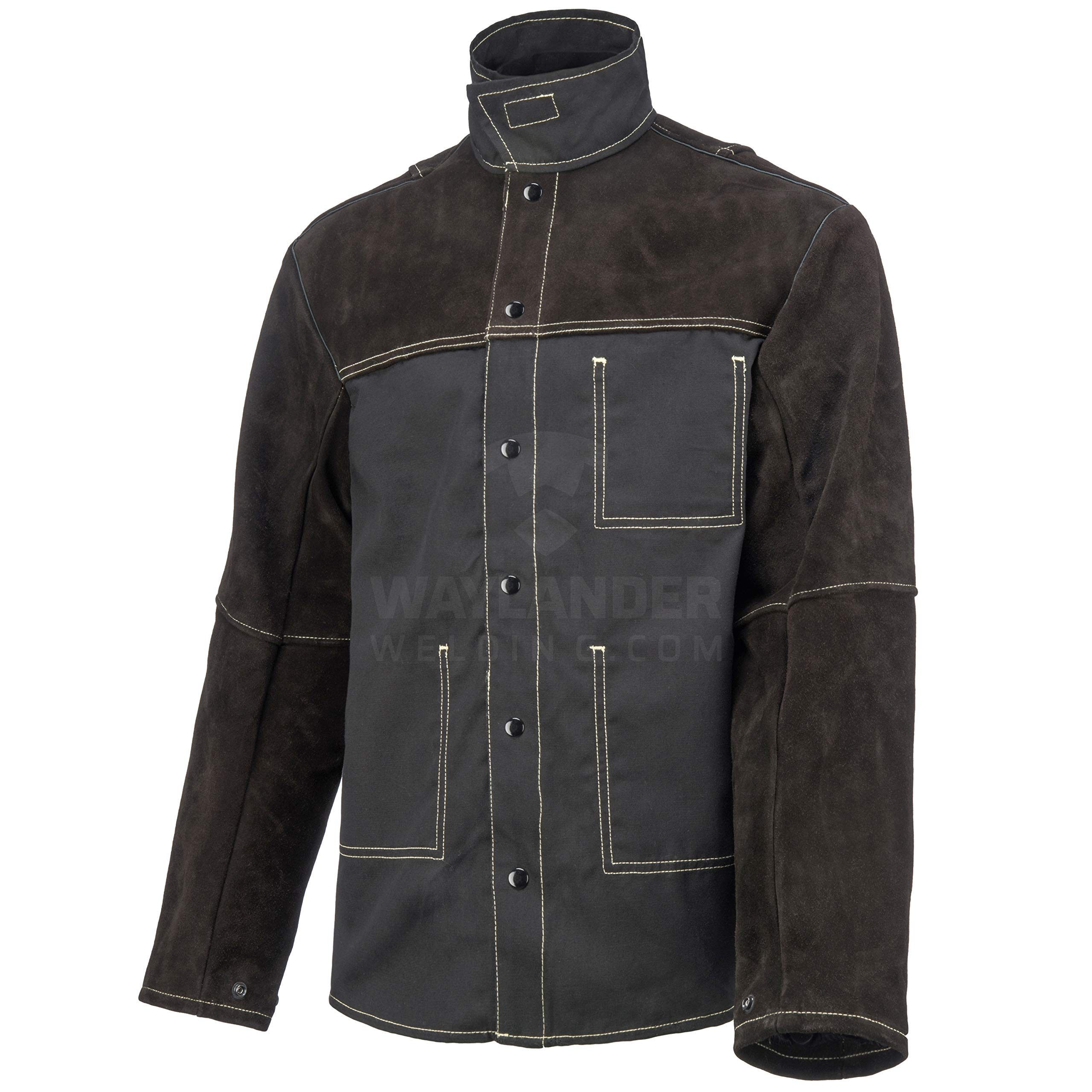 Waylander Welding Jacket XL Split Leather Heat Fire Resistant Cotton Kevlar Stitched Cowhide Dark Brown - XL