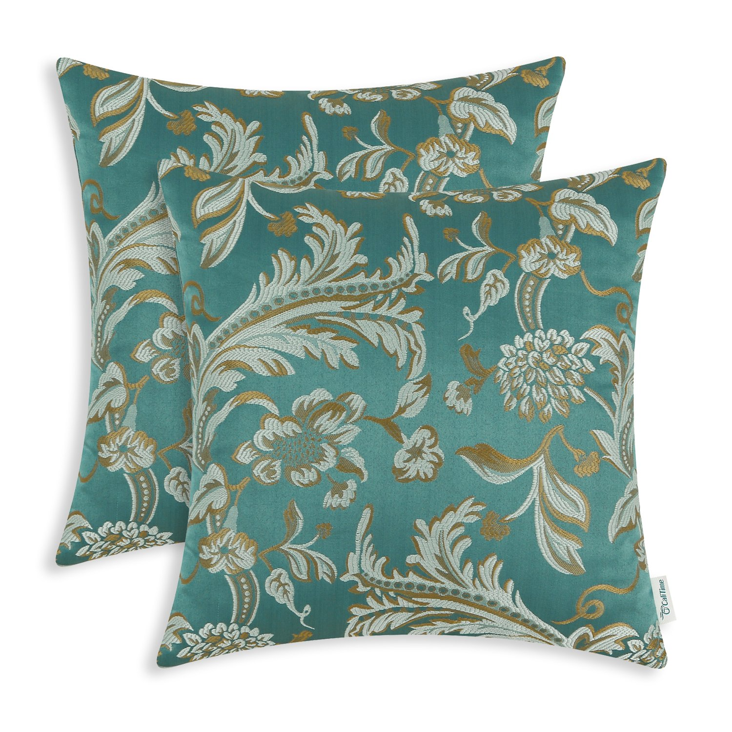 CaliTime Pack of 2 Throw Pillow Covers Cases for Couch Sofa Home Decor, Vintage Floral Leaves, 20 X 20 Inches, Teal