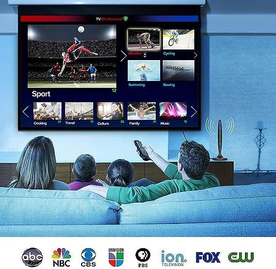 ABLEGRID Antena de TV - Antena HDTV compatible con 4K 1080P, alcance de 90 a 120 millas Antena digital para HDTV, canales VHF UHF Freeview con amplificador de señal: Amazon.es: Electrónica