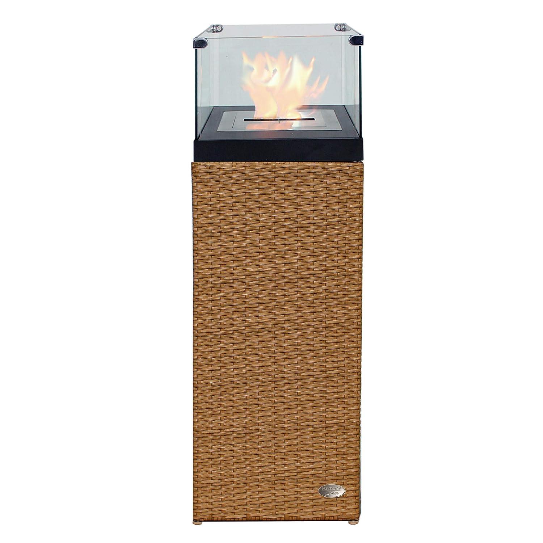 Colonne cheminé e bio é thanol coupe de feu corbeille de feu cheminé e poê le pour le jardin et la terrassee en poly-rotin assorti pour chaise longue et meubles jardin couleur Java brun inconnu