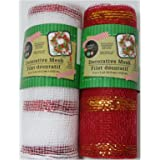 Christmas Decorative Mesh Rolls for Crafting Wreaths, Centerpieces, Displays, Table Drape and More, 5 Yards (2 Rolls, Red/White)