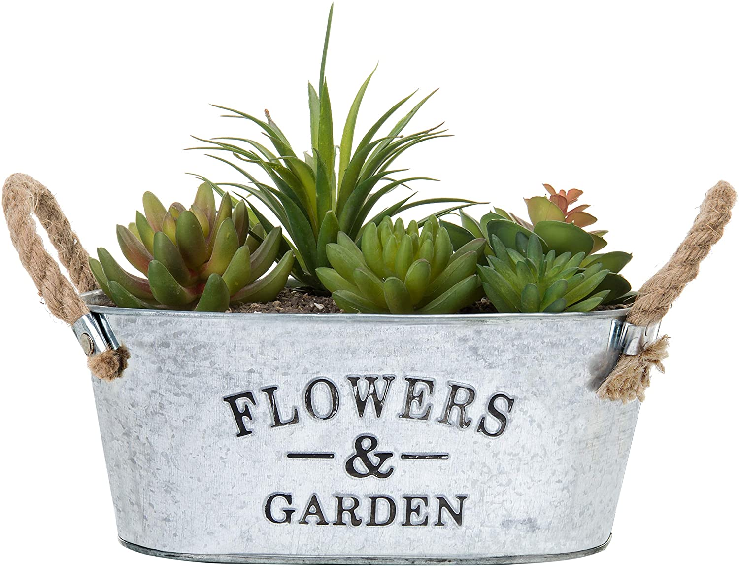 MyGift Rustic 'Flowers & Garden' Bucket Design Small Metal Succulent Plant Container w/Twine Handles