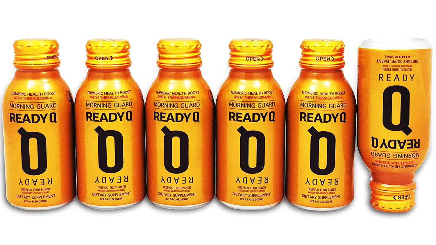 ReadyQ Morning Guard Drink the Night Before to Prevent Morning-After Recovery All Natural, Theracurmin Turmeric Formula 6-Pack Set of 100ml Bottles Mango Peach Flavor