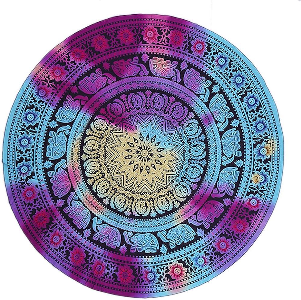 Landove Telo Mare Rotondo Mandala Cotone Hippie Bohemien Arazzo Spiaggia Coperta Stampa Tovaglia Beach Scialle Avvolgere Gonna Tappetino da Yoga 150x150cm