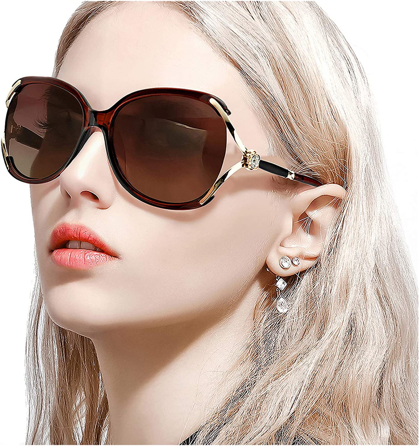 FIMILU Women's Classic Oversized Polarized Sunglasses Elegant Fashion Rhinestone Design for Driving Shopping Travelling